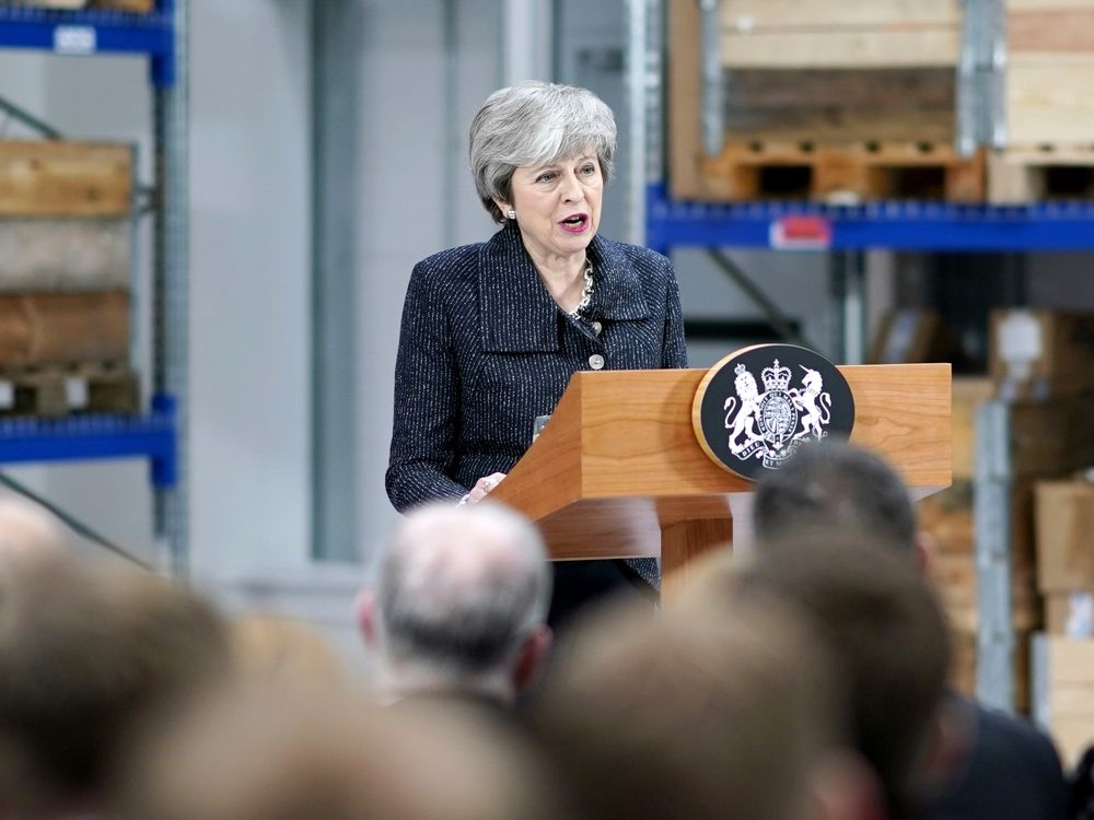 Theresa May speaks in Grimsby on March 8.