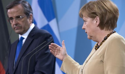 Chancellor Angela Merkel and Prime Minister Antonis Samaras