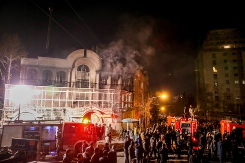 Iranian protesters set fire to the Saudi Embassy in Tehran during a demonstration.