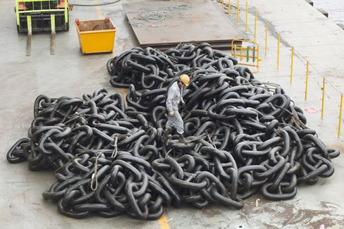 A single link of the anchor chain weighs 500 pounds
