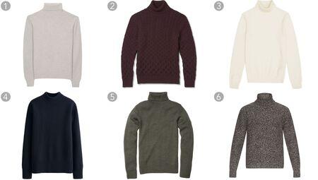 (1) Wool turtleneck, Ami, $315, amipari.fr; (2) Slim-fit cable-knit rollneck, Etro, $670, mrporter.com; (3) Cashmere rollneck jumper, Reiss, $370, reiss.com; (4) Merino blended mock neck Lemaire x Uniqlo, $49.90, uniqlo.com;(5) Chunky turtleneck, Bonobos, $118, bonobos.com; (6) Flecked wool and cashmere-blend sweater, Valentino, $1,100, matchesfashion.com.