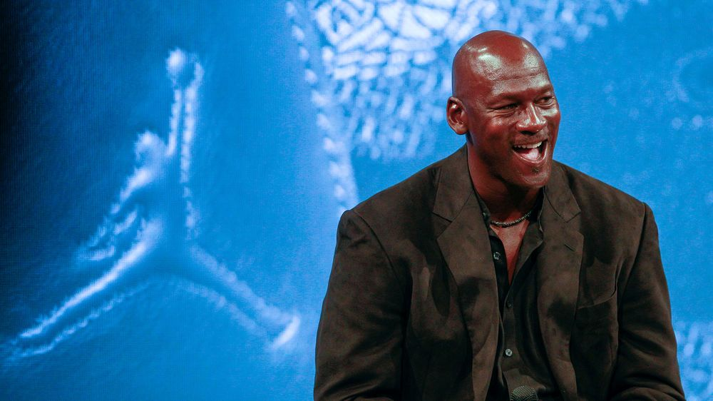 63d2ad396c8e Michael Jordan attends a press conference for the celebration of the 30th  anniversary of the Air