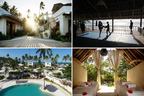 Clockwise from top left: the exterior of a one-bedroom villa; a beachside class; massage alfresco; the main pool.