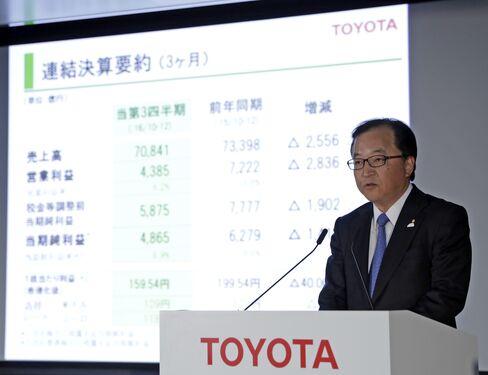 トヨタの決算発表の様子