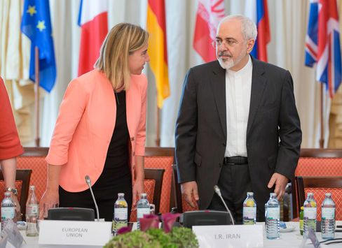 Foreign Affairs Minister of Iran, Mohammad Javad Zarif, and High Representative of the European Union for Foreign Affairs and Security Policy, Federica Mogherini, attend the nuclear talks in Vienna, Austria on July 06, 2015.