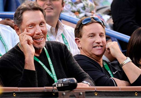 Ellison and Hurd at the BNP Paribas Open in Indian Wells, Calif. in 2011
