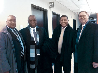 Miller, Howard, Ross, and McReynolds (left to right) at the 7th Circuit courthouse in Chicago in January 2012