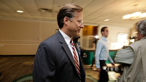 Tea Party challenger and economics professor Dave Brat attends the Midlothian Rotary Club breakfast at the Double tree Hotel to speak to the press, June 17, 2014 in Richmond, Virginia.