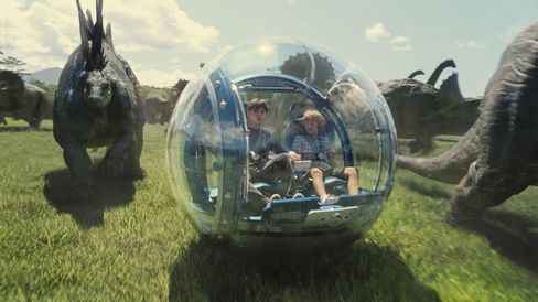 Jurassic World's glass-encased (read: easily smashed) gyrosphere vehicle allows passengers 360-degree visibility of Gyrosphere Valley. Source: ILM/Universal Pictures and Amblin Entertainment via Bloomberg