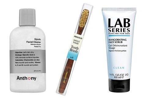 From left: Anthony Glycolic Facial Cleanser; Swissco Natural Bristle Toothbrush; Lab Series Invigorating Face Scrub