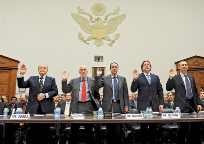 Hedge fund managers George Soros, James Simons, John Paulson, Philip Falcone, and Kenneth Griffin testifying before Congress in 2008