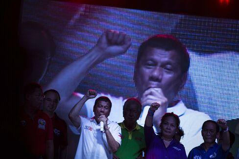 Rodrigo Duterte at a campaign rally in Manila on May 1.