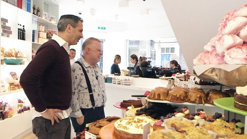 Chef Ottolenghi gives Bloomberg's London critic a peek at the cakes, baked just upstairs.
