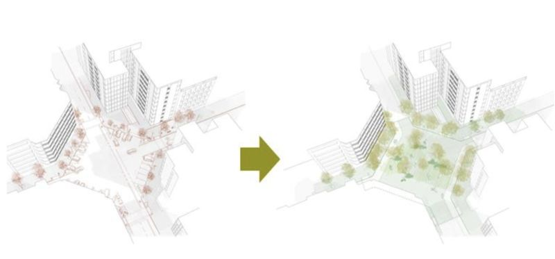 How the Eixample District's intersections could be converted into green plazas