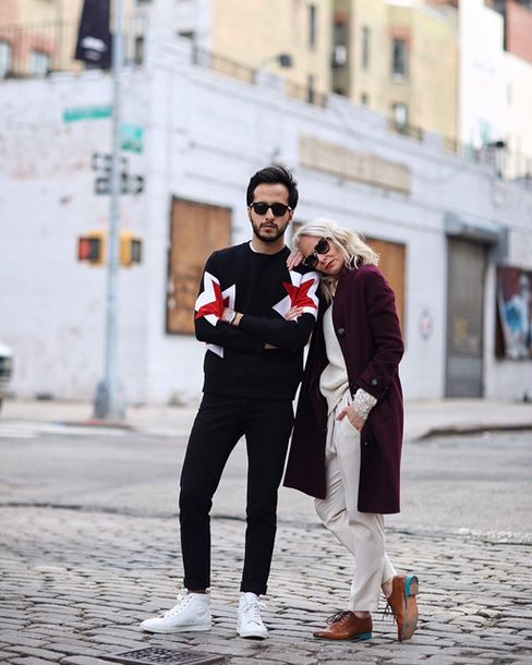 Pursuits' fashion editors Moti and Nic on day four, outside the official venue of New York Fashion Week: Men's, Skylight Clarkson Square on the west side of SoHo.