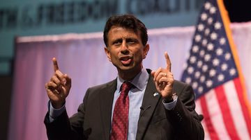 Bobby Jindal, Republican governor of Louisiana, speaks during the Iowa Faith & Freedom Coalition presidential forum at Point of Grace Church in Waukee, Iowa, U.S., on Saturday, April 25, 2015.
