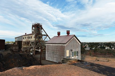 Original mine shaft structures and buildings stand as a tourist attraction as part of the Junction Mine, in the township of Broken Hill.