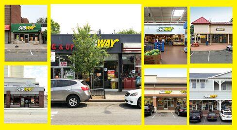 (Clockwise from bottom left) Subways for sale in Hempstead, N.Y.; Newark, N.J.; Brooklyn; Commack, N.Y.; South Bound Brook, N.J.; Freeport; and New Brunswick.