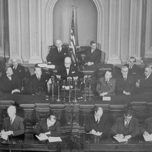 Winston Churchill addresses Congress in 1941.