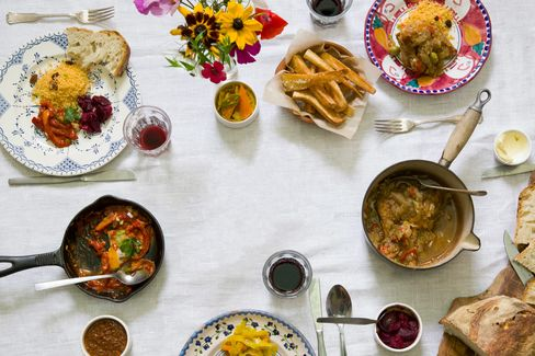 Mazi Mas serves home-cooking from around the world. The dishes change daily as different women devise the menu.