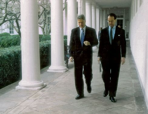 Bowles with his boss, Clinton, at the White House in 1995