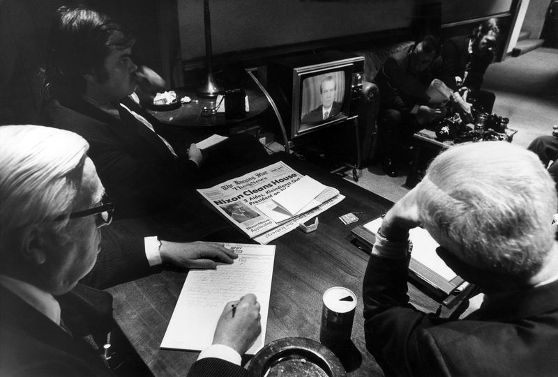 how richard nixon created hillary clinton bloomberg white house reporters watch president richard nixon on tv as he told the nation of white