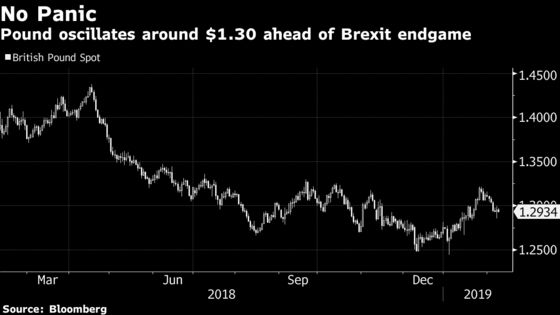 Pound Traders Favor Option Bets With Less Than 50 Days to Brexit