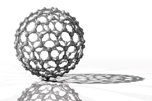 Spherical Fullerene Molecule Illustration