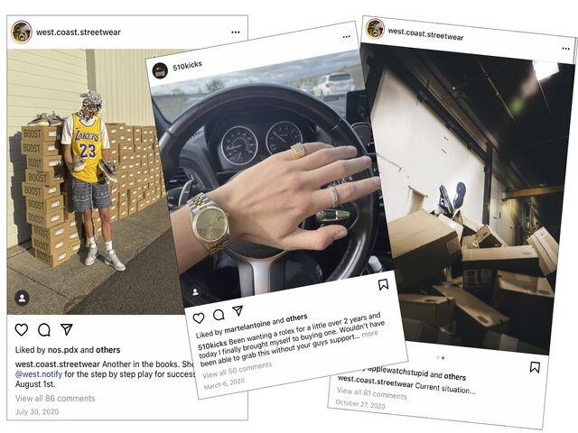 Sneaker resellers on Instagram.