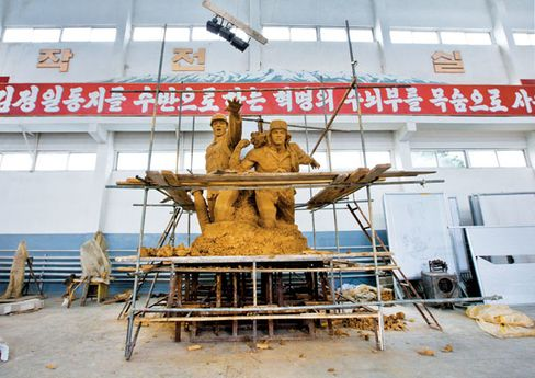 A work in progress in one of the studios at Mansudae's massive Pyongyang complex