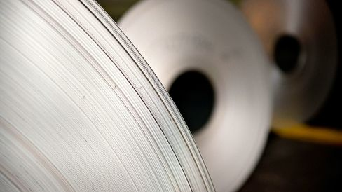 Rolled aluminum at the Alcoa Inc. Davenport Works facility in Riverdale, Iowa.