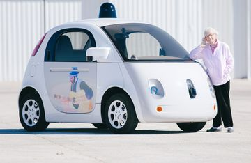Florence Swanson, 94-years-old, and a Google self-driving car.