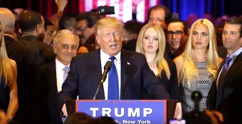 Republican presidential candidate Donald Trump speaks on April 19, 2016, in New York City.