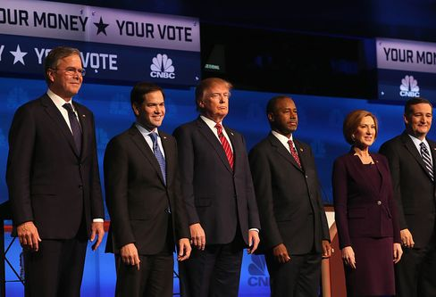 The Republican presidential contenders debate on October 28, 2015 in Boulder, Colorado.