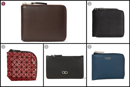 (1) Zip-around leather wallet, Comme des Garçons, $180, mrporter.com; (2) Small python ziparound coin wallet, Burberry, $595, burberry.com; (3) Bao Bao zipper wallet, Issey Miyake, $250, ssense.com; (4) Credit-card case, Salvatore Ferragamo, $240, ferragamo.com; (5) Corner Zip, Vianel, $290, vianelnewyork.com