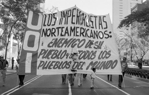 Protests against the Mexican government and the International Monetary Fund in Mexico City in 1986.
