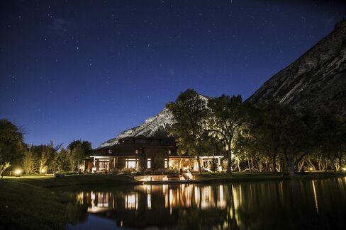 The ranch at night.