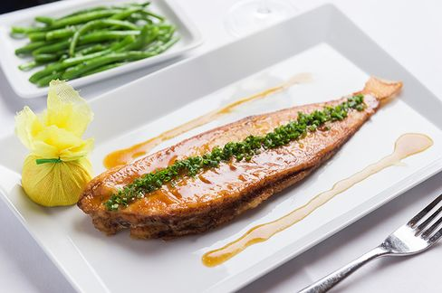 Dover sole, flown in from France, served with lemon butter.