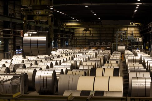 Coils of Rolled Steel Sit at Outokumpu Oyj's Steel Plant