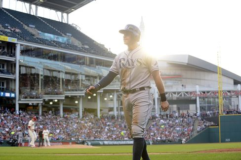 Evan Longoria at Progressive Field on June, 20, 2015in Cleveland, Ohio.
