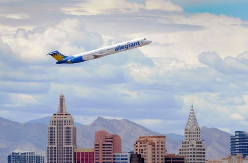 An Allegiant Air jet taking off from McCarran International Airport in Las Vegas in May 2013.
