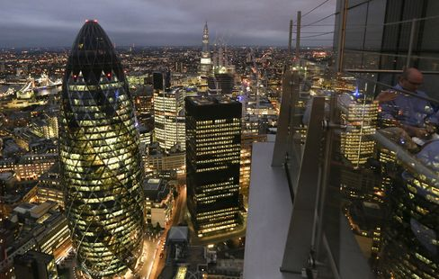 The Tower at 30 St. Mary Axe Stands in London