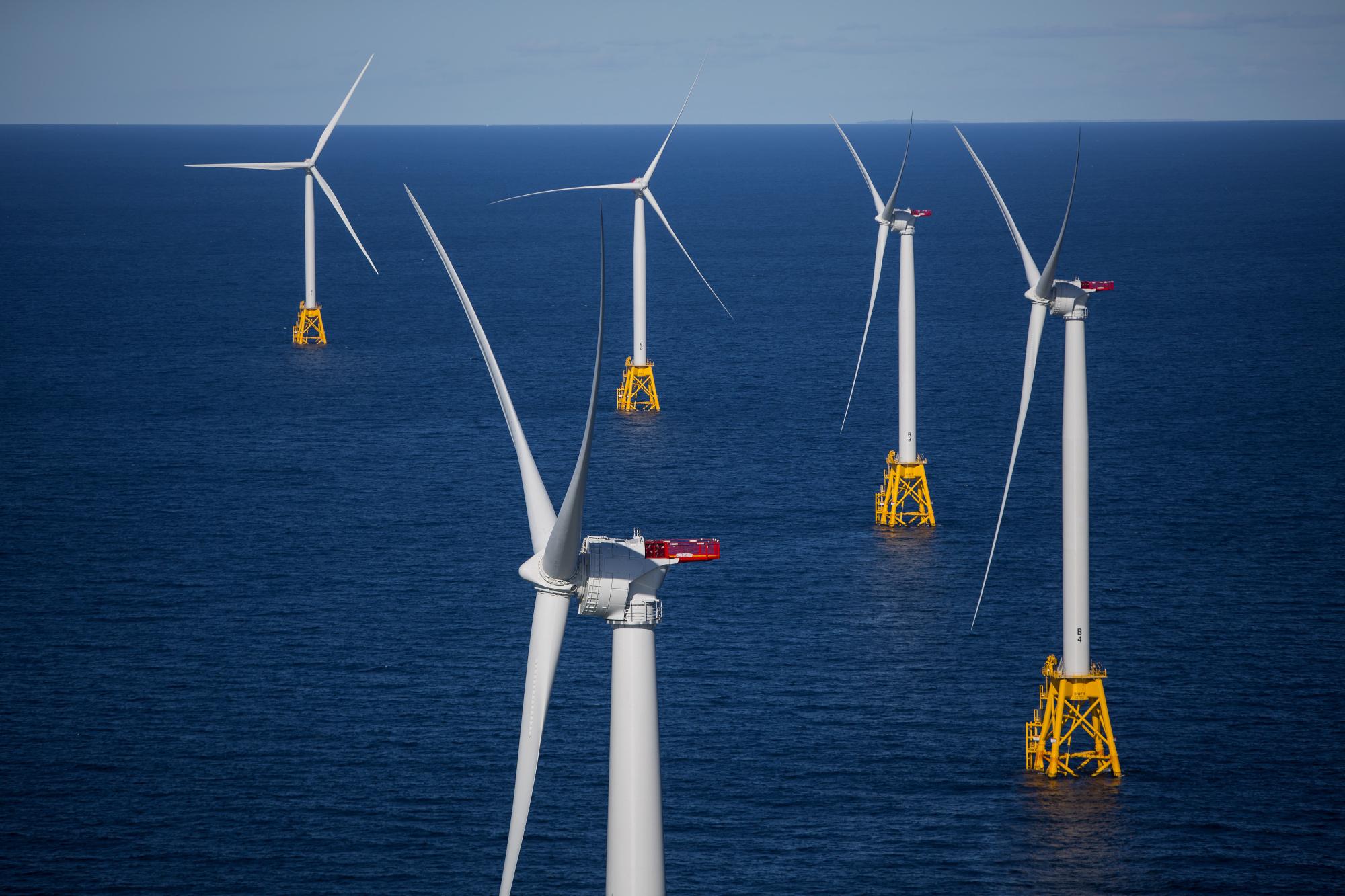 Wind farm off the coast of Rhode Island.