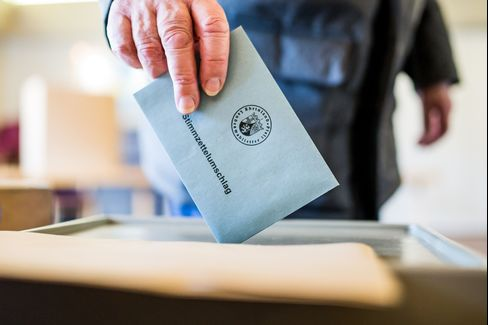 A voter casts his ballot in Rhineland-Palatinate state elections on March 13.
