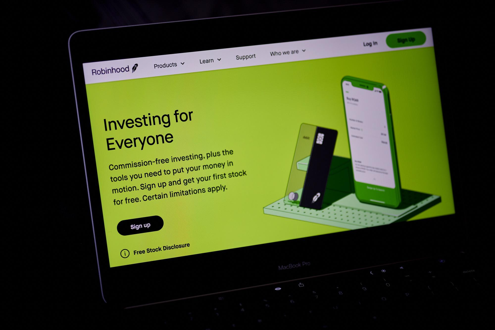 Robinhood Website Home Screen