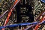 A Bitcoin sits among twisted copper wiring inside a communications room.