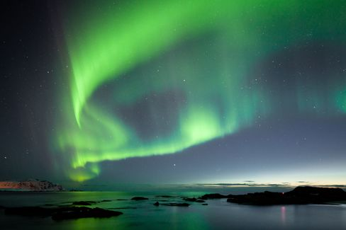 The Northern Lights as seen from the Lofoten Islands.