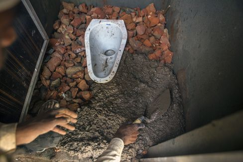 A toilet being built by villagers in Chapra village, Haryana