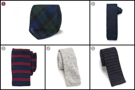(1) Blackwatch tartan handrolled woven grenadine tie, Drake's, $178, drakes.com; (2) Solid knit tie, J.Hilburn, $89, jhilburn.com; (3) Woven tie, Dibi, $48, dibities.com; (4) Wool & silk knit tie, Eidos, $175, saks.com; (5) Striped wool knit tie, Paul Smith, $125, saks.com.
