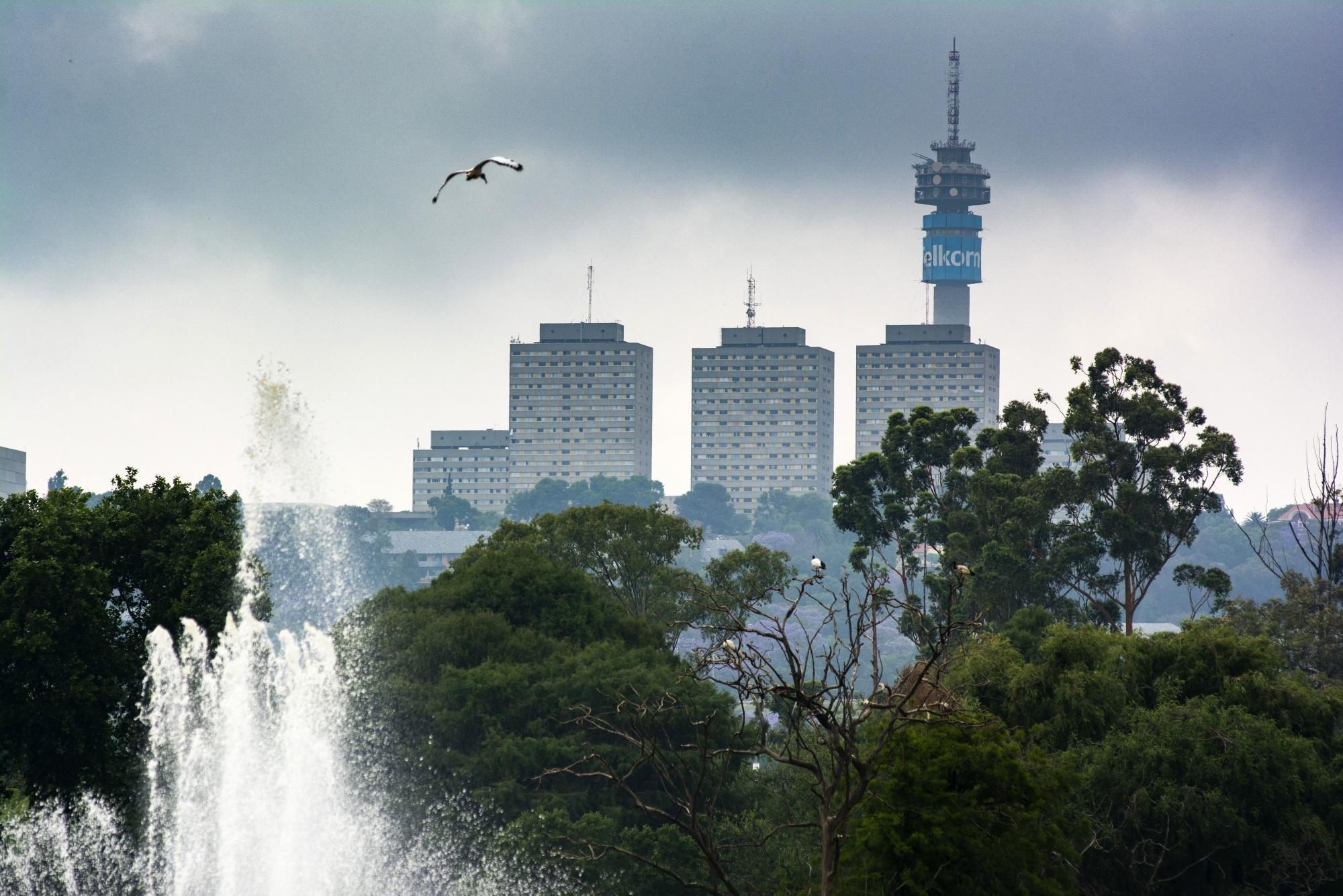 The Telkom Tower and city tower blocks inJohannesburg.